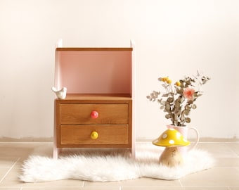 """Sideboard / bedside table vintage 50s solid oak and veneer """"Pythagoras"""", revisited in pink blush, coral and mustard"""