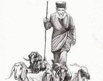 Drawing of a Priest with his Goats