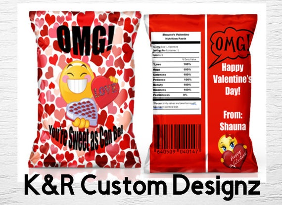 Valentines  Blue Heart Chip Bag Goodie Bag Party Favor Happy Valentines Day-Chip Bag Instant download Chip Bag-Printable Chip bag