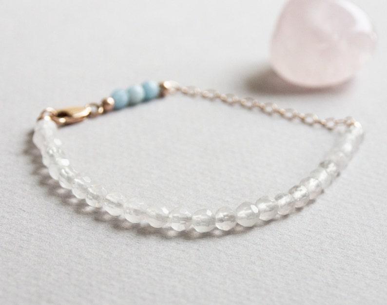 Minimal Healing Beaded Jewelry 4mm Pink Blue Semi Precious Stone Beads Delicate Rose Quartz /& Aquamarine Gemstone Bracelet w 14k Rose Gold
