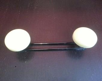 Coat hanger 2 hangers 1950-60 yellow/black metal thin stems