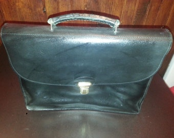 VINTAGE black leather satchel