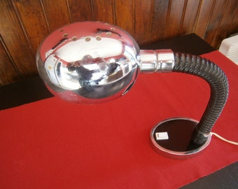 Vintage 1970's desk lamp chrome barrel with rubber tubing