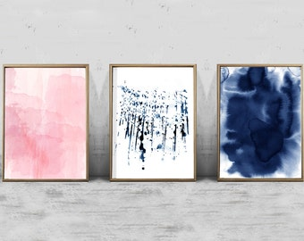 Set of 3 Watercolor Prints, Abstract Watercolor Painting Pink Indigo Blue Paint Splatter Modern Art Contemporary Minimalist Large Wall Art