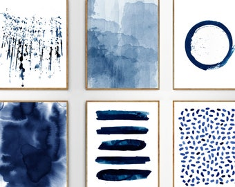 Abstract Watercolor Prints Set of 6 Blue Wall art Minimalist art Indigo Painting Navy Stripes Splatter Brushstrokes Blue White Home Decor