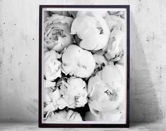 Black white wall art etsy floral print peony flower black white wall art minimalist poster peonies scandinavian botanical print plants flowers nature nordic minimal mightylinksfo