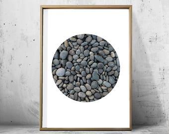 Beach Rock Stones Pebbles Ocean Nature Photograph Neutral Wall art Gray Minimalist Poster Circle Print Scandinavian Modern Nordic Minimal