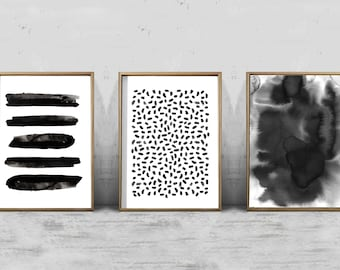 Abstract Watercolor Set Black and White Wall art Large Print Minimalist Minimal Gray Wall Art Modern Paint Strokes Dots Stripes Printable