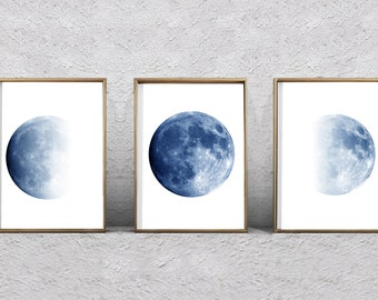 f961b961676f1 Moon Phase Prints Set of 3 Lunar Phases Indigo Navy Blue Wall art  Minimalist Posters Night Sky Constellations art Moon Prints Coastal Boho