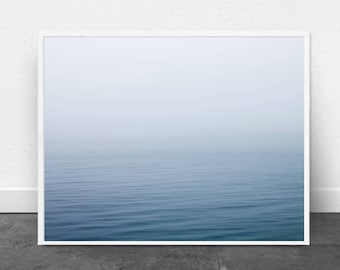 Blue Ocean Art Print, Blue Sea Minimalist Poster Blue Wall art Beach Minimal Scandinavian Poster Nordic Minimalism Water Contemporary Art