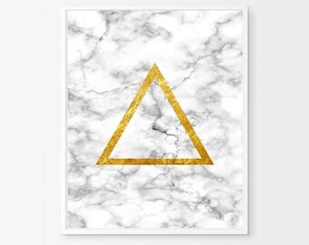 Marble Poster Gold Triangle Geometric art Marble Wall art Black White Gray Modern art Minimalist Poster Printable Scandinavian art Boho Deco