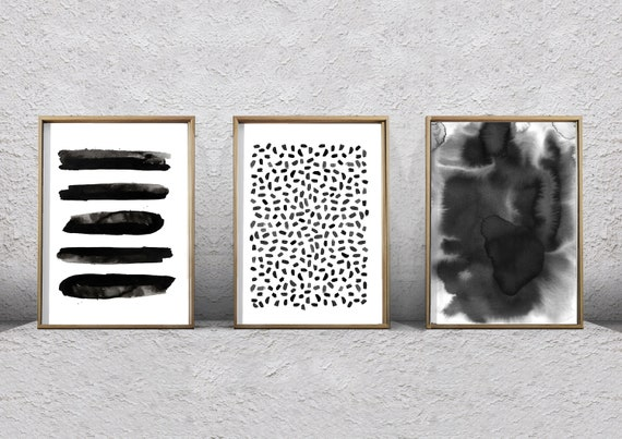 Abstract Watercolor Set Black and White Wall art Large Print | Etsy