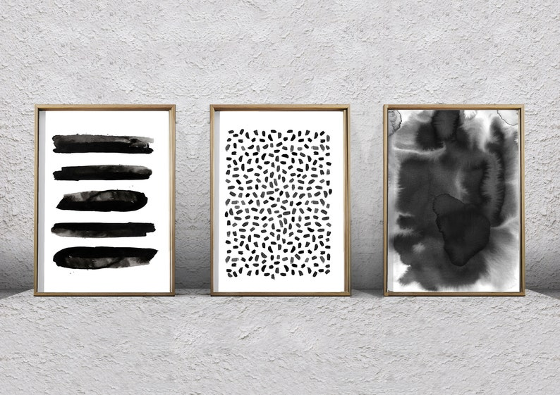 68872b25d Abstract Watercolor Set Black and White Wall art Large Print | Etsy