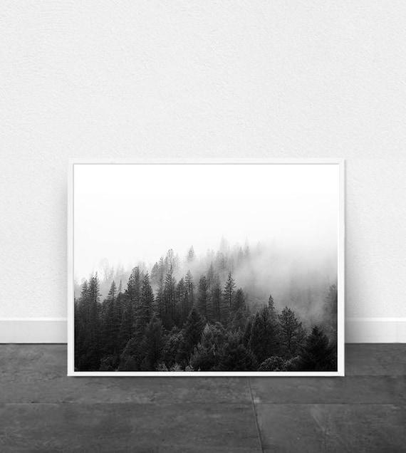 Canvas Wall Art de forêt vert forêt arbres en noir et blanc