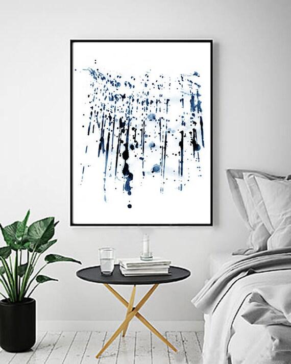 Aquarelle Abstraite Bleue Peinture Murale Marine Bleu Indigo Art Peinture éclaboussure Affiche Minimaliste Géométrique Coups De Pinceau Grand Imprimé