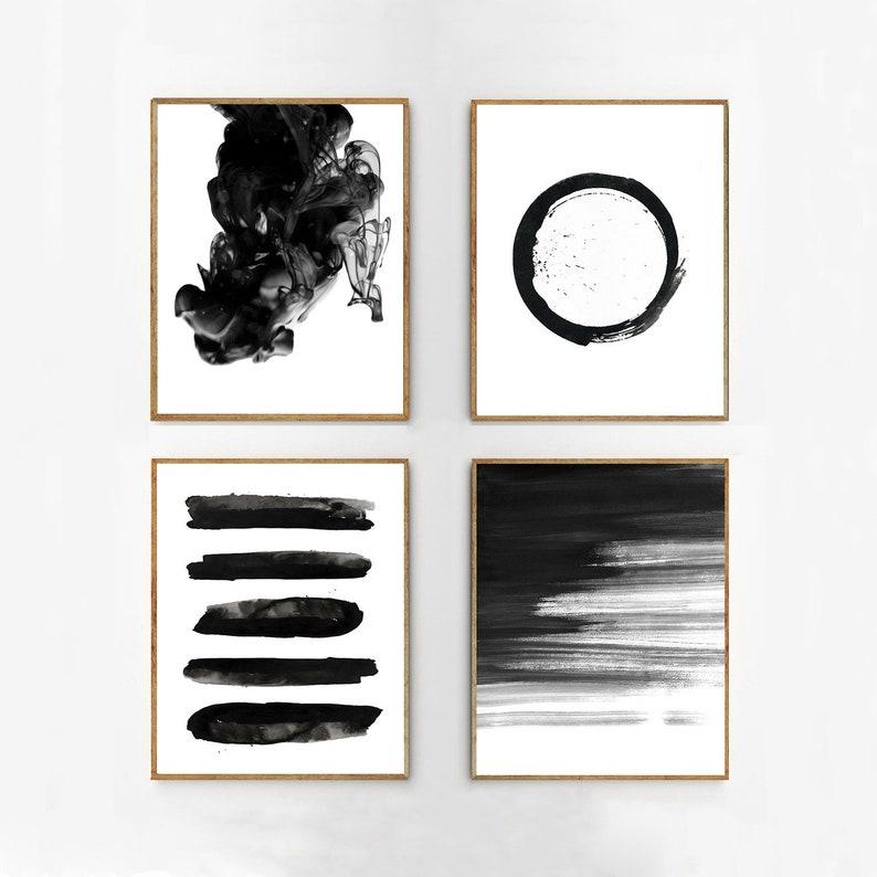 281cd0ad4 Abstract Watercolor Prints Set Black White Wall art Minimalist | Etsy