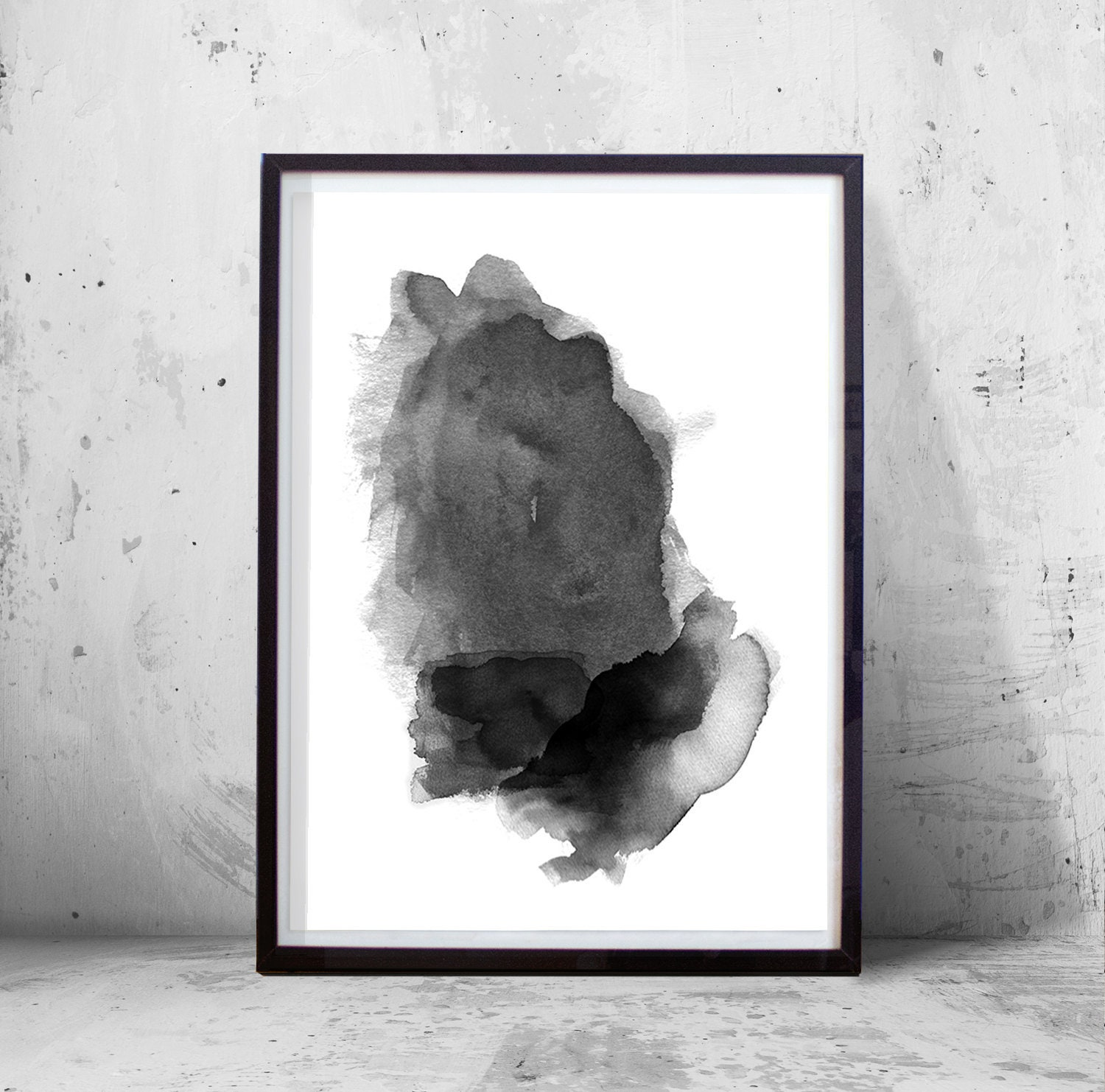 7950cbc7a Abstract Watercolor Painting Black White art Print Minimalist | Etsy
