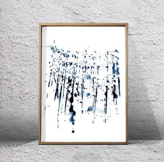 Abstrait Aquarelle Imprimé Indigo Marine Mur Bleu Peinture D Art Splatter Minimaliste Art Numérique Téléchargement Affiche Imprimable Géométrique