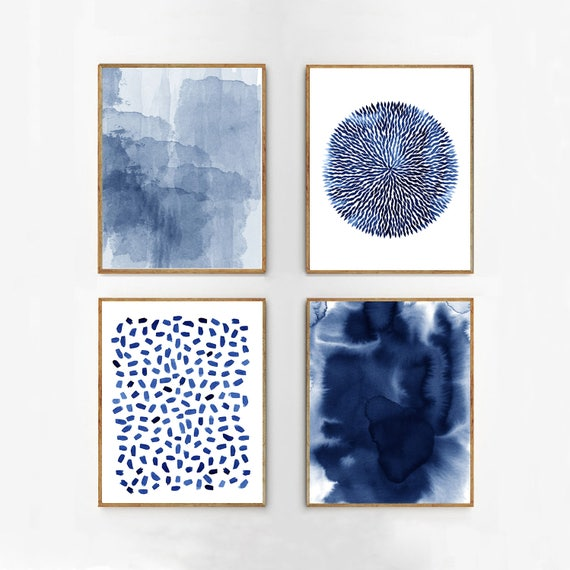 Abstract Art Prints Set Indigo Blue Navy Wall Art Abstract Paintings Minimalist Art Dots Scandinavian Posters Modern Extra Large Art Prints by Etsy