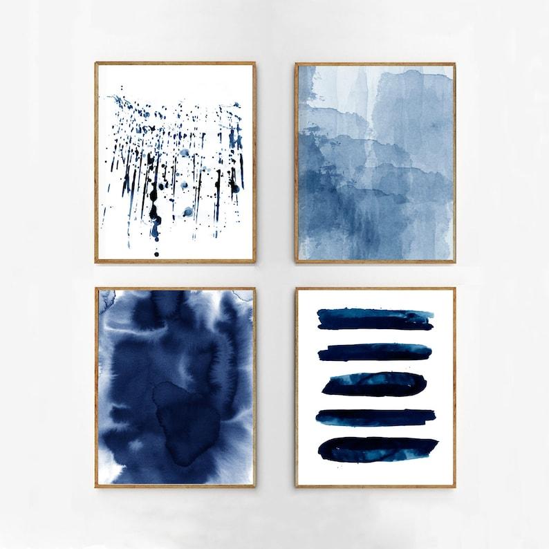 Abstract Watercolor Set Indigo Blue Wall art Large Navy Prints image 1