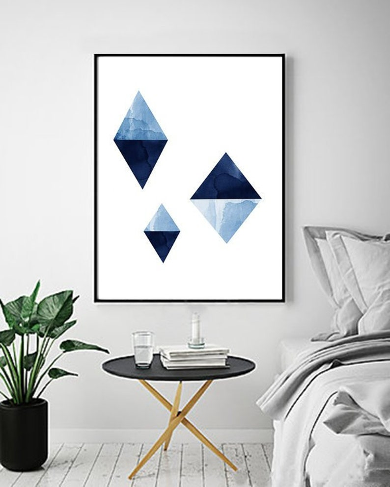Blue Triangles Abstract Art Print Watercolor Painting Geometric Wall Art Large Giclee Print Minimalist Art Scandinavian Poster Nordic Style