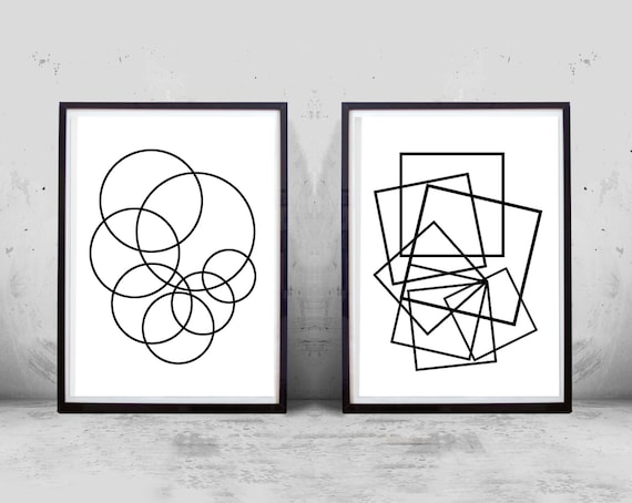 Geometric Art Prints Set Circles Squares Minimalist Art Abstract Art Prints Set Boho Home Decor Black And White Printable Poster Modern Art