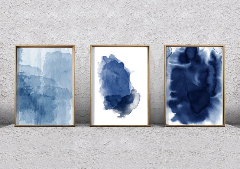 0e5d7b1549f Set of 3 Blue Abstract Art Prints Watercolor Paintings Indigo