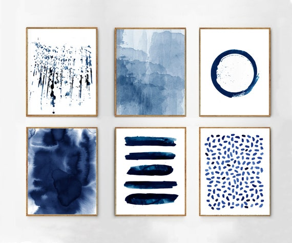 Abstract Watercolor Prints Set Of 6 Blue Wall Art Minimalist Etsy