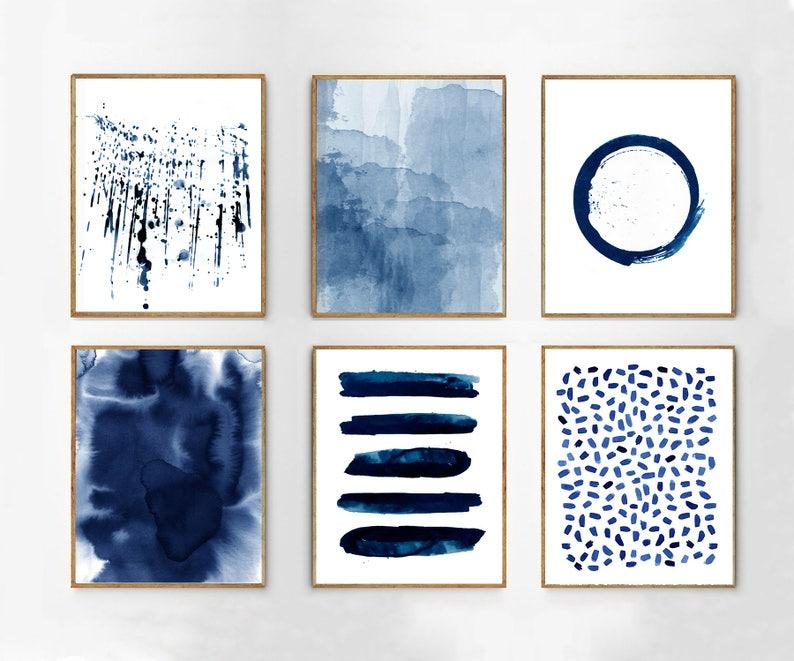 759767f558a Abstract Watercolor Prints Set of 6 Blue Wall art Minimalist