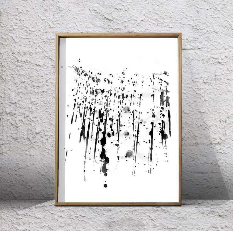 d9d5cf5a6 Black White Abstract Wall art Paint Splatter Brushstrokes | Etsy