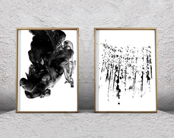 Black White Wall Art Abstract Prints Set Of 2 Ink Spill Paint Etsy