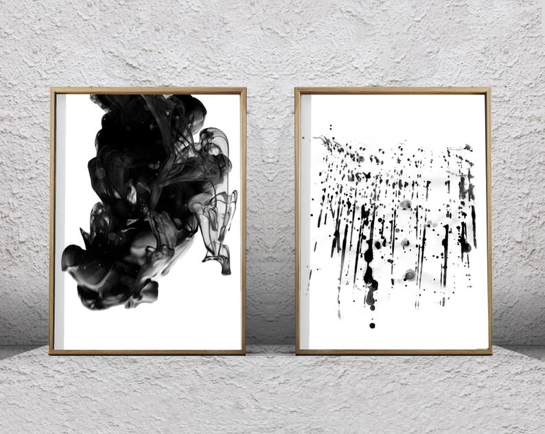 d28cca8a3 Black White Wall art Abstract Prints Set of 2 Ink Spill Paint | Etsy