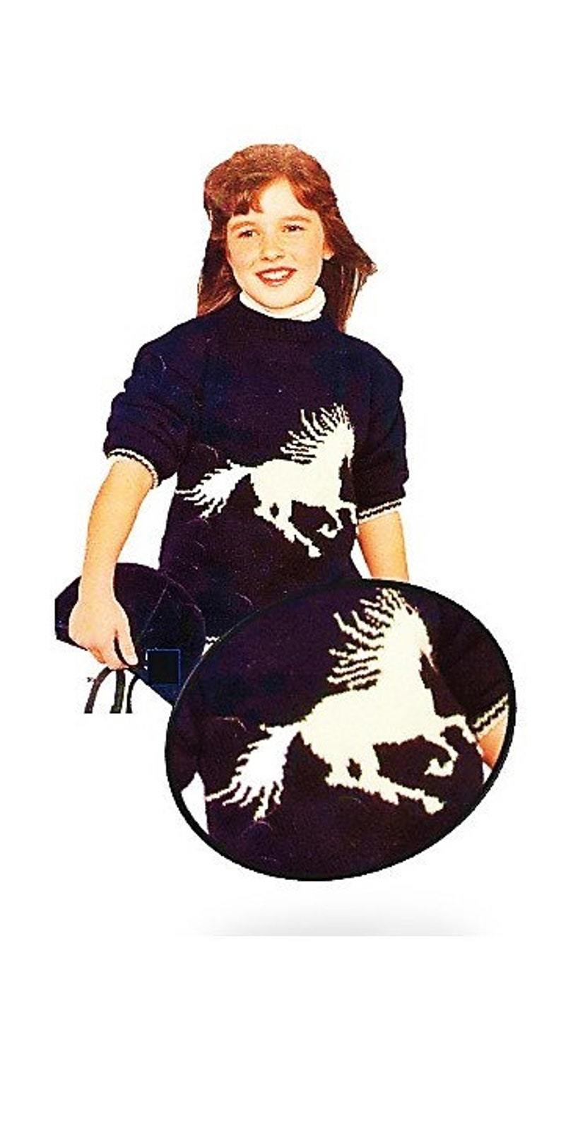 Knit Pony Sweater PATTERN Boy Girl Jockey Horse Outfit Graph Chart Polo Pullover Riding Equestrian Winter X Mas Gift Vintage Digital Pdf