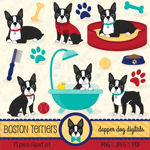 Boston Terrier Dog Clipart Pack Commercial Use Vector Etsy