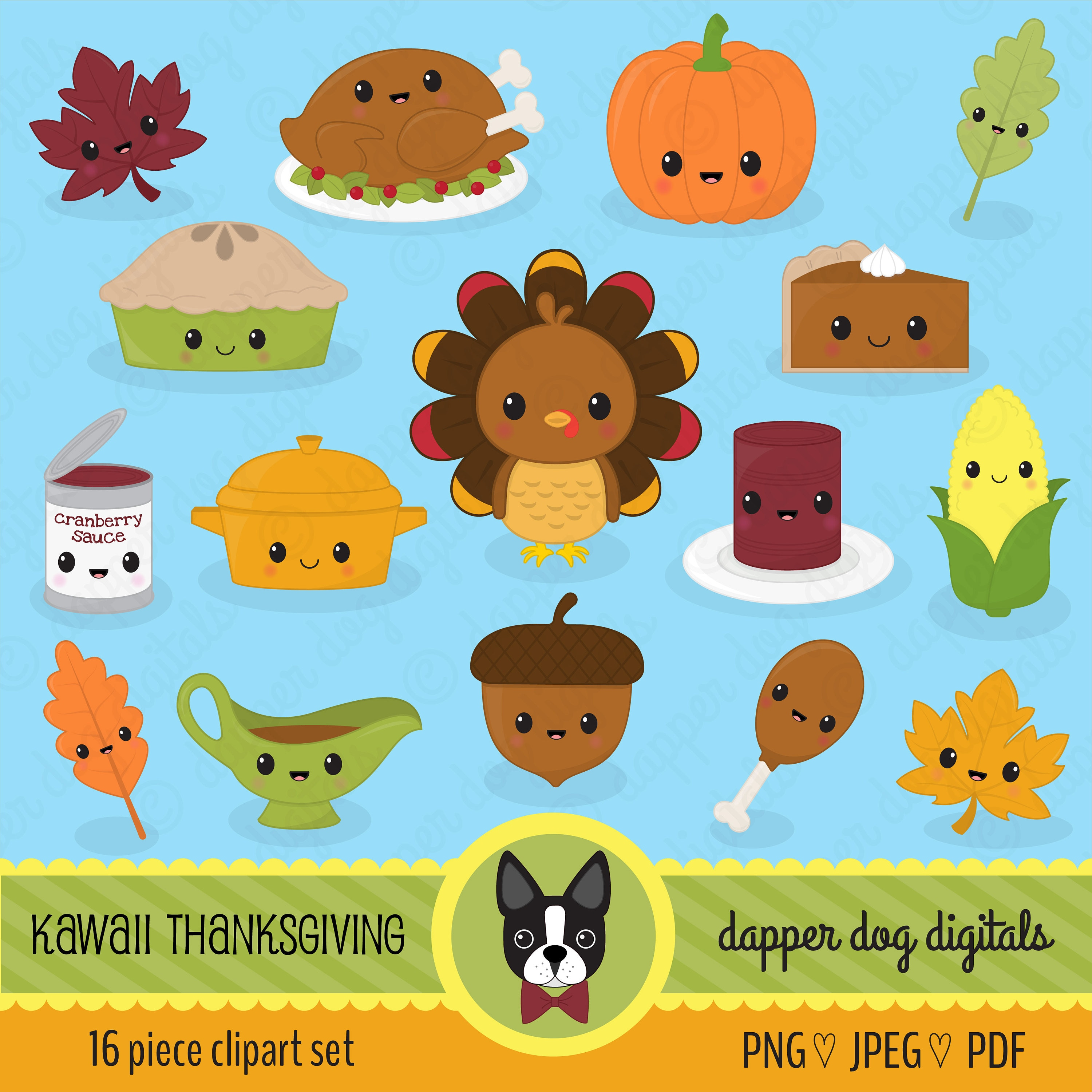 Kawaii Thanksgiving Dinner Clipart Pack Commercial Use | Etsy