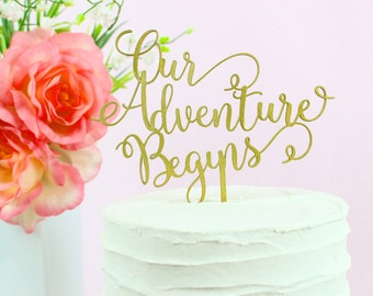 Our Adventure Begins Cake Topper, Wedding Cake Toppers, Celebration Cake Toppers, Whimsical Collection