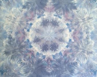Mandala tie dye tapestry in pastel blues and lavender