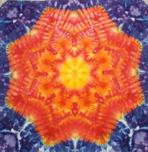 Trippy Tie Dye Tapestry Wall Hanging In Yellow Orange Red Blue Etsy