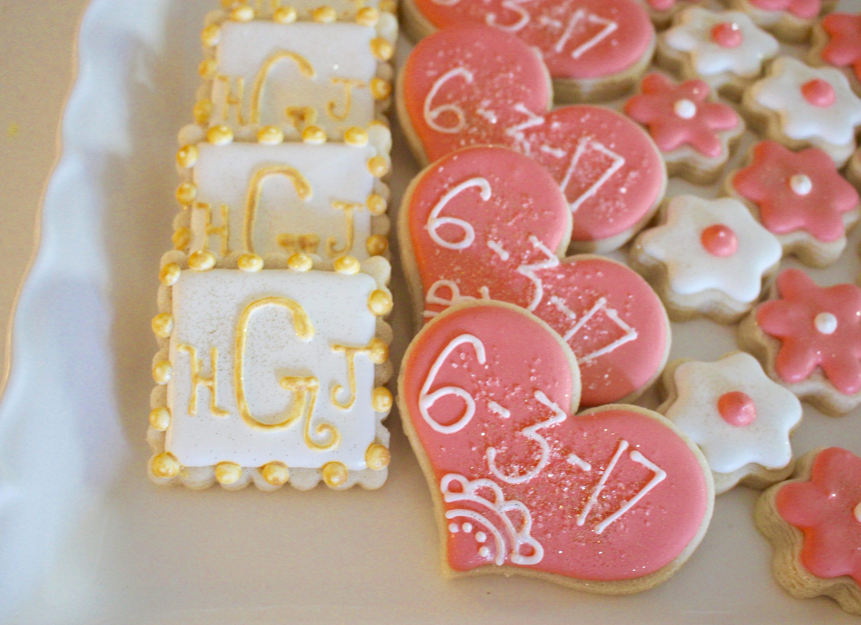 Bridal Shower Wedding Shower Engagement Cookies Monogram | Etsy