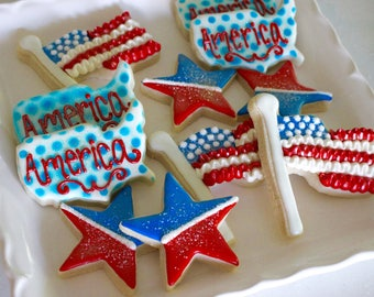 SHIPPED - 1 Dozen 4th of July Sugar Cookies - Patriotic - Grill Out Cookies