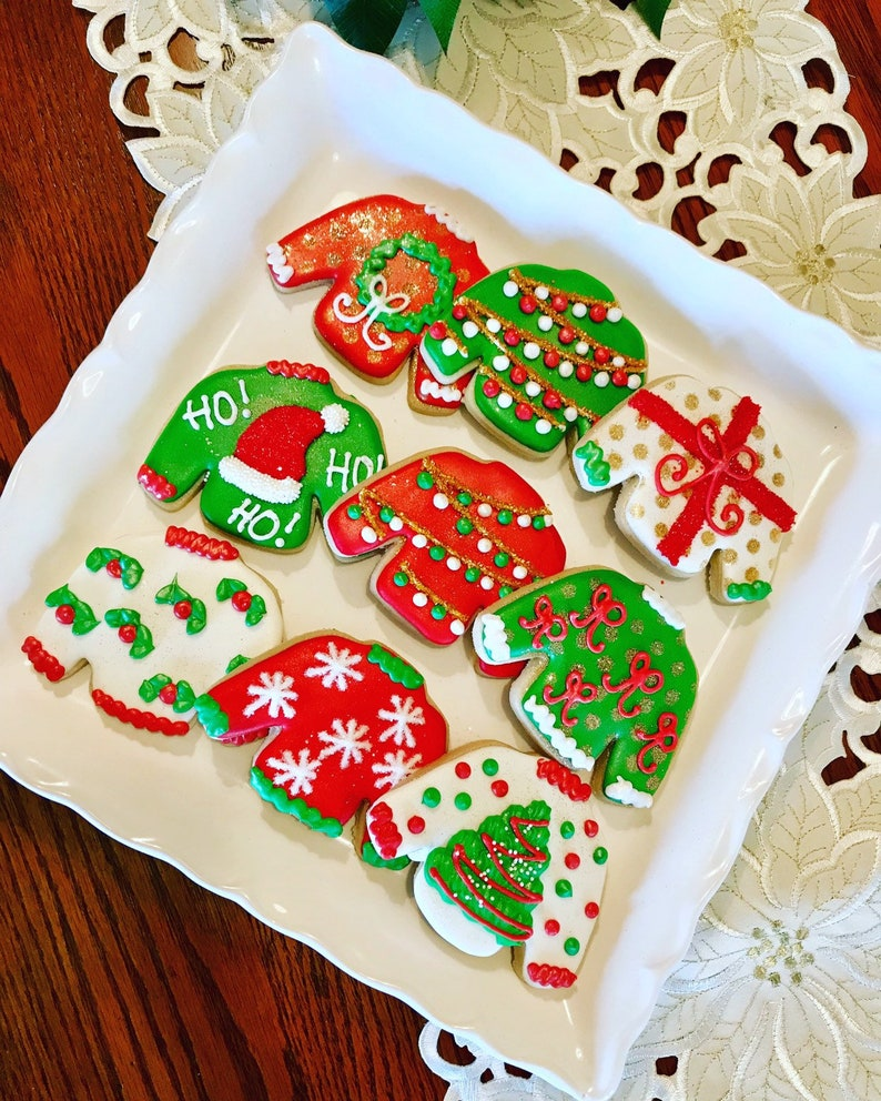 Large Ugly Sweater Cookies Christmas Cookies Corporate Gifting Cookies Holiday Party Cookies Party Favors