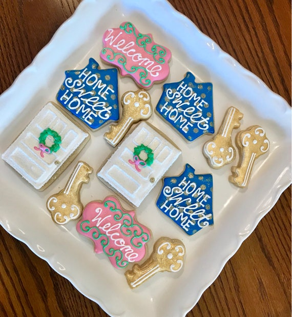 House Warming Gift New Home Key And Home Design Sugar Cookies Etsy