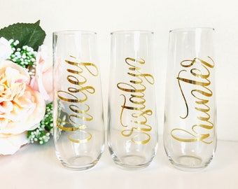 Personalized Champagne Flute - Stemless Champagne Flutes, Stemless Glasses, Bridesmaid Gift, Bridal Party
