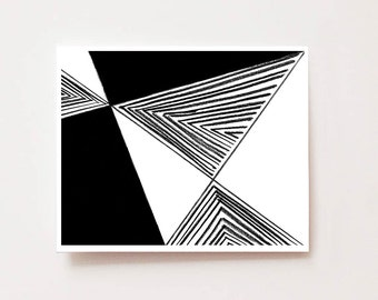 Modern geometric abstract wall art, Black and white triangles- Fine art Giclee print, abstract, modern, black and white, chic, lines, modern