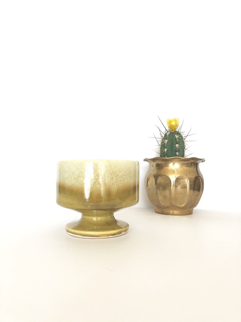 vintage drip glaze golden yellow ombre planter with pedastal
