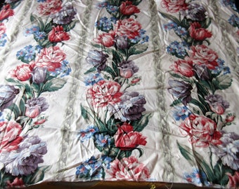 Floral 1987 Stain Repelled Cotton Sateen 6 Yards Vintage Bloomcraft Teflon Fabric Light Green Floral