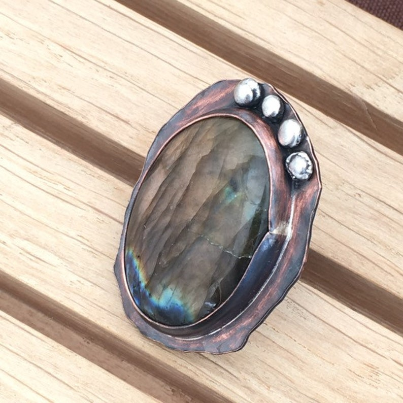 Boho Ring Organic Ring Gothic Ring Copper Sterling Silver and Brown Labradorite Rustic Statement Mixed Metal Adjustable Ring