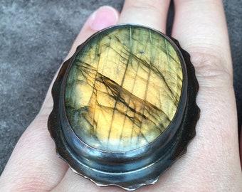 Labradorite and Copper Ring, Statement Ring, Adjustable Ring, Rustic Ring, Mixed Metal Ring, Labradorite Ring, Organic Ring