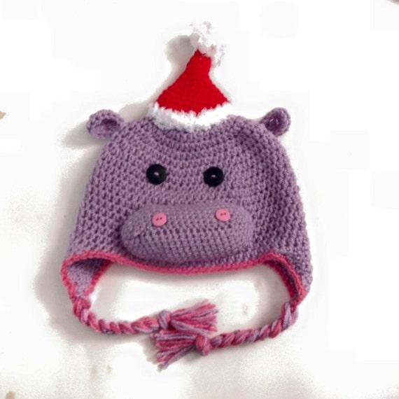 Christmas Hippo Crochet Hat Free Shippingall Sizes Available Etsy