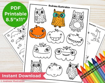 PRINTABLE Halloween Coloring Pages, Instant Download Pumpkin Party Activity Page, Witch and Bats Illustrated Coloring Page PDF Party Supply